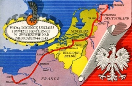 Route of the first polish armoured division Normandy 1944 to the port of Wilhemshaven Germany 1945